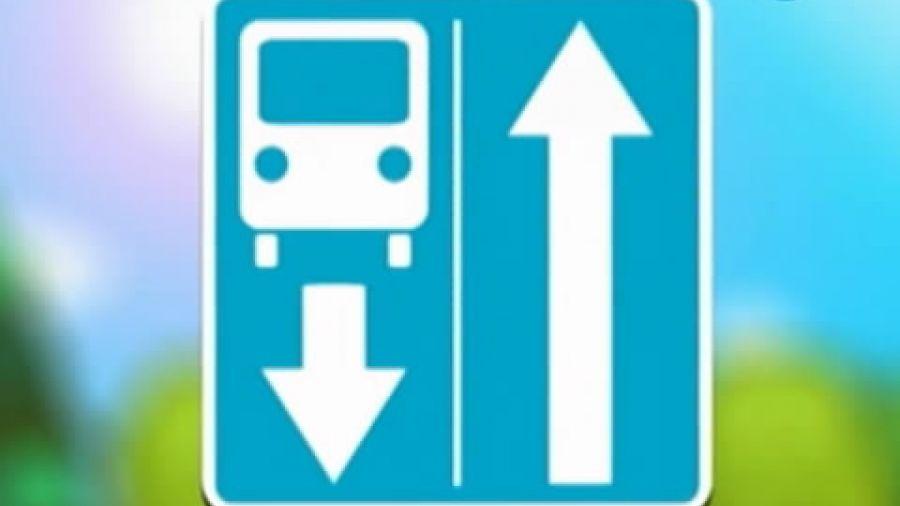 Знак «Дорога с полосой для маршрутных транспортных средств»