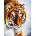 """Живопись на холсте """"Тигр на снегу"""", 30 х 40 см"""