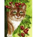 """Живопись на холсте Белоснежка """"Кот на вишнёвом дереве"""", 30 х 40 см"""