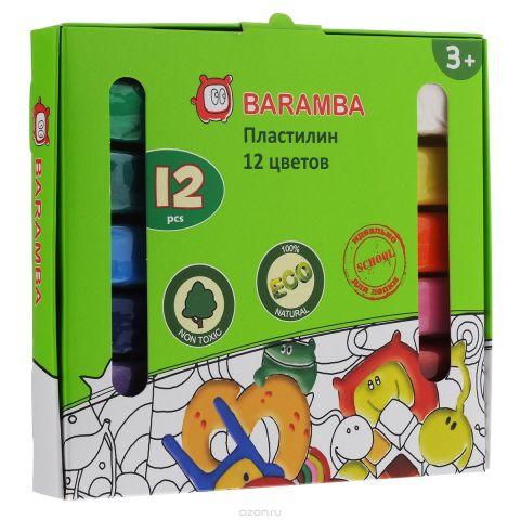 """Пластилин на растительной основе """"Baramba"""", 12 цветов"""