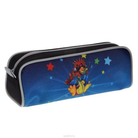 """Пенал односекционный Tiger Family """"Joyful Birdie"""", цвет: черный, синий. C36873"""