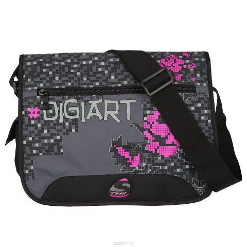 "Сумка школьная Steiner ""Digiart"", черный, серый, малиновый. 43135-505"