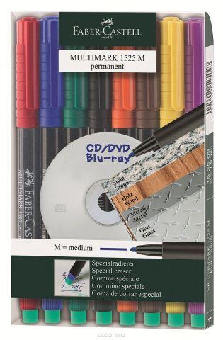 Faber-Castell Капиллярная перманентная ручка Multimark M для письма на CD 8 цветов