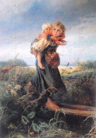 Константин Маковский. Дети, бегущие от грозы. Пазл, 60 элементов