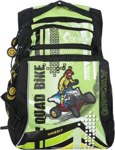 Grizzly Рюкзак детский Quad Bike цвет черный салатовый