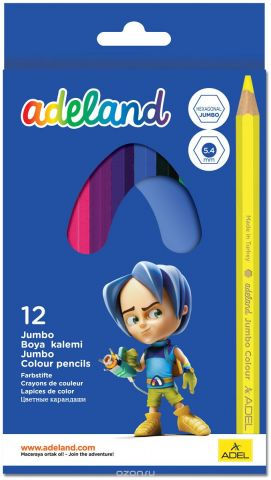 Adel Набор цветных карандашей Adeland Jumbo Hexa 12 шт 211-9510-100