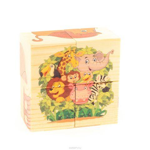 Развивающие деревянные игрушки Кубики Зоопарк