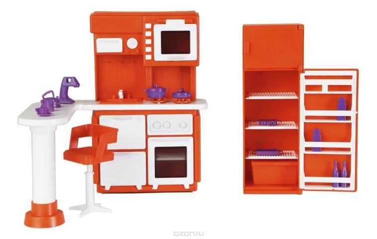 Огонек Набор мебели для кукол Кухня Конфетти цвет оранжевый