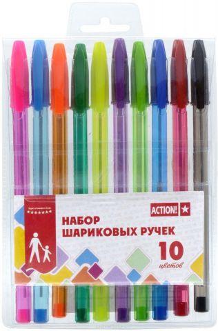 Action! Набор шариковых ручек 10 цветов ABP1001
