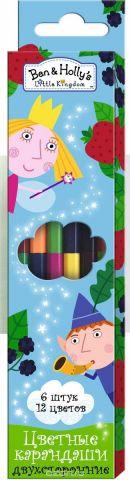 Ben&Holly Набор цветных карандашей Бен и Холли двусторонние 12 цветов 6 шт