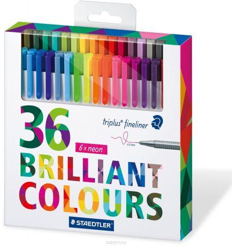 Staedtler Набор капиллярных ручек Triplus 334 Яркие цвета 36 цветов