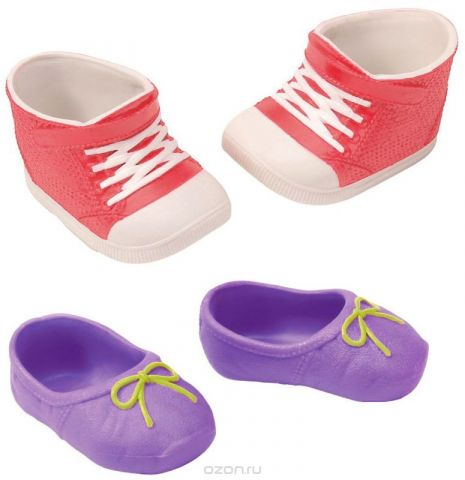 Baby Born Ботиночки для кукол цвет сиреневый розовый белый 2 пары