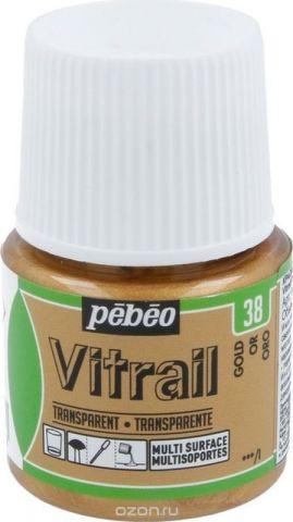 Pebeo Краска для стекла и металла Vitrail лаковая прозрачная цвет 050-038 под золото 45 мл
