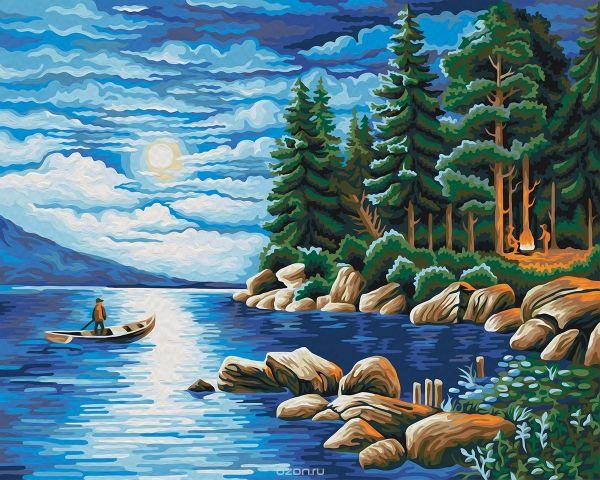 """Набор для рисования по номерам Мосфа """"Ночь в лесу"""", 40 х 50 см"""