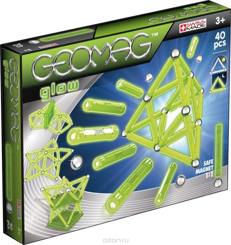 Geomag Конструктор магнитный Glow 40 элементов