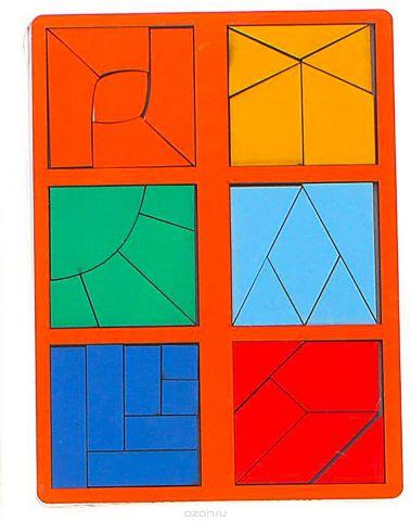 Smile Decor Обучающая игра Сложи квадрат 3 уровень Мини цвет оранжевый