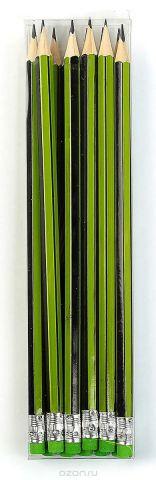 Calligrata Карандаш чернографитный Полоски с ластиком твердость HB цвет корпуса светло-зеленый черный