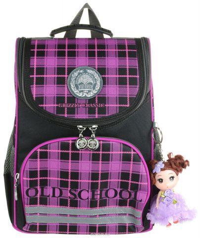 Grizzly Рюкзак школьный с мешком цвет черный фиолетовый