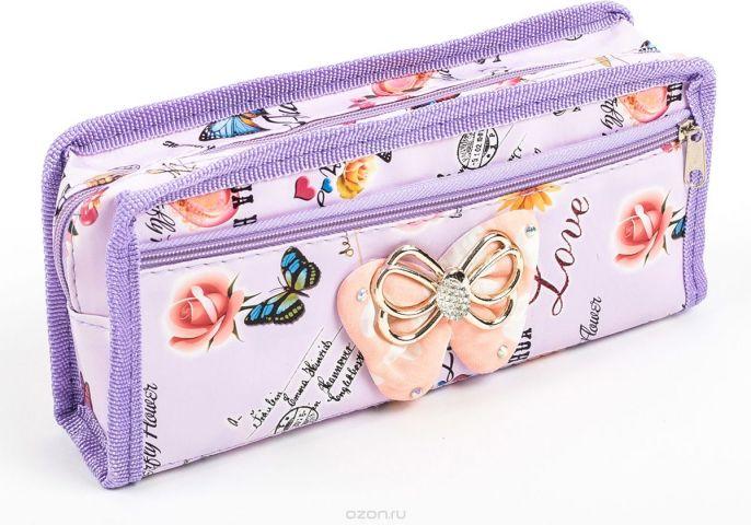 Calligrata Пенал школьный 2 отделения Бабочки цвет фиолетовый 2924182