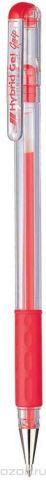 Гелевая ручка Pentel Hybrid Gel Grip, стержень 0.6 мм, цвет чернил: красный
