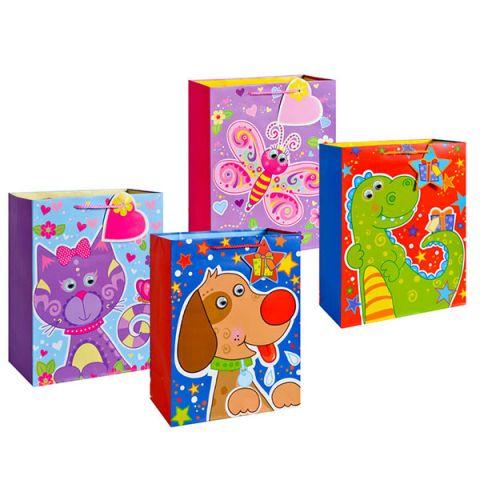 """Пакет подарочный бумажный TZ14046 """"Забавные животные"""", 5 видов (23*18*12 см) (в ассортименте)"""