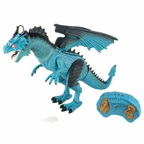 1toy T16703 Ледяной Дракон на ИК управлении (звук, свет, движение, парогенератор), голубой